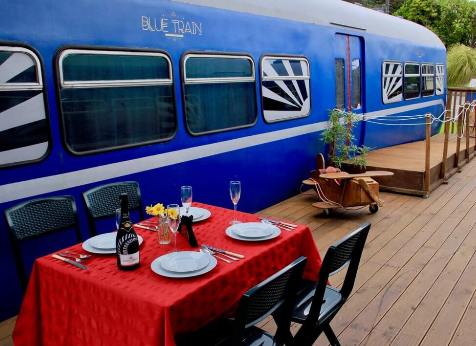 image of a blue train.